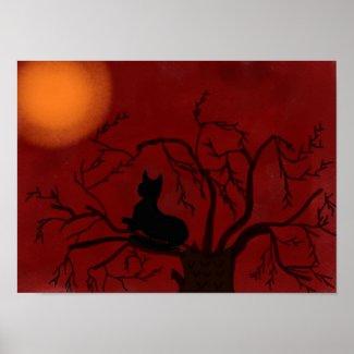 Black Cat, Red Sky Poster