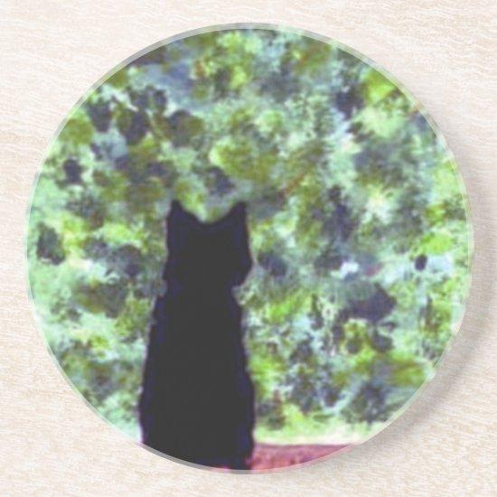 Black Cat Art, Cat at the window Coaster