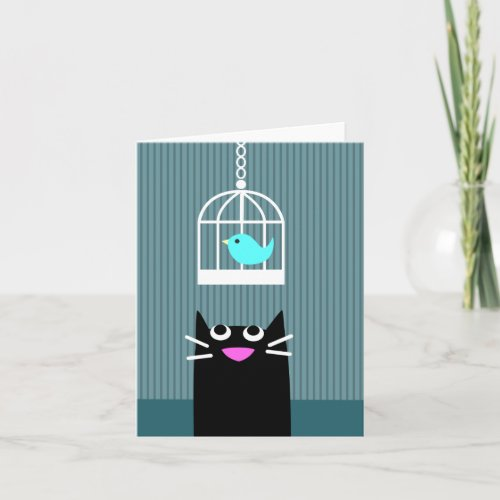 Black Cat & Blue Bird blank card
