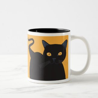 Orange-Eyed Black Cat Mug