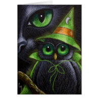 BLACK CAT & OWL - HALLOWEEN Card