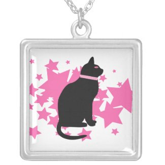 Black Cat Pink Stars Necklace