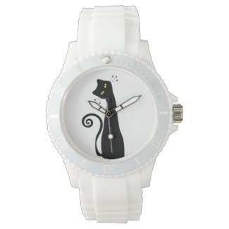 Black Cat Listening Wristwatch