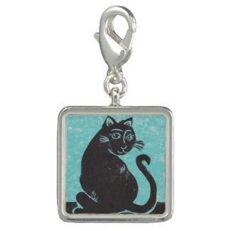 Teal Black Cat Charm