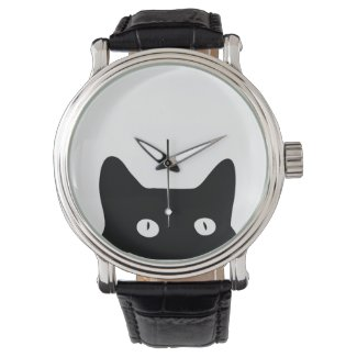 Peeking Black Cat Watch