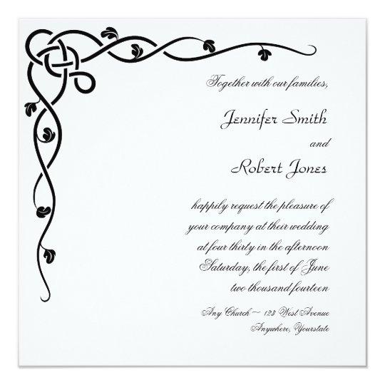 Black Celtic Knot Corner Vine Wedding Invitation