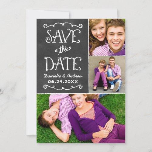 Black Chalkboard Charm | Wedding Photo Collage Save The Date