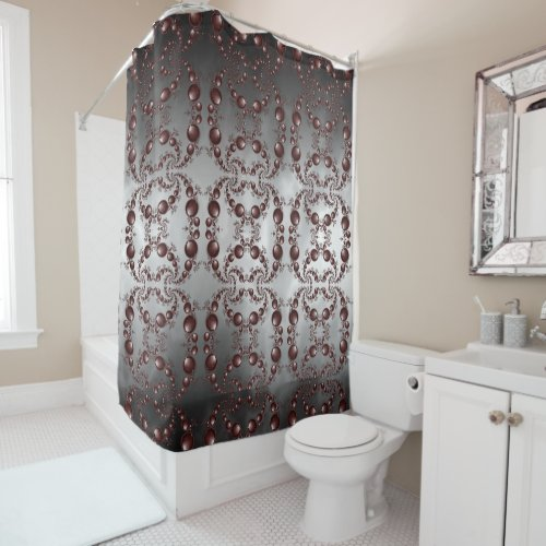 Black Cherry Marble Shower Curtain