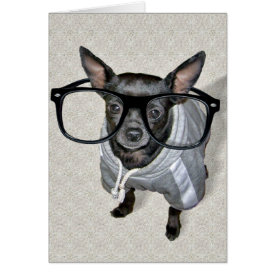 Black Chihuahua with Glasses Photo Card