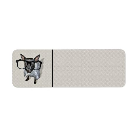 Black Chihuahua with Glasses Photo Label