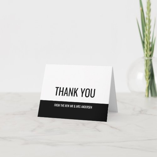 Black Color Block Custom Photo Thank You Card
