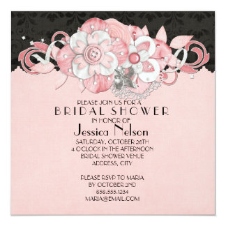 Black Damask Pink Flowers Bridal Shower Invitation