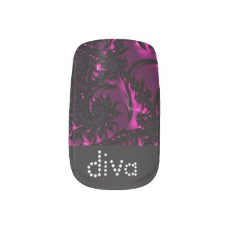 Black Diva Polka-Dot Beautiful Fractal Nail Stickers
