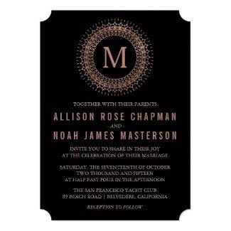 Black & Faux Rose Gold Deco Monogram Wedding 5x7 Paper Invitation Card