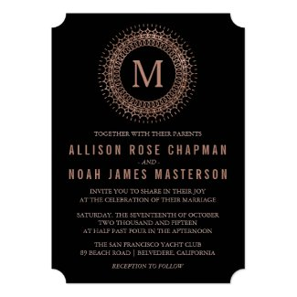 Black & Faux Rose Gold Deco Monogram Wedding 5x7 Paper Invitation Card