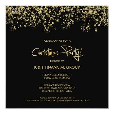 Black & Gold Confetti Company Christmas Dinner Card