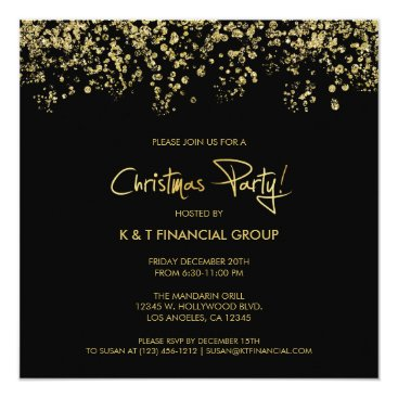 Black & Gold Confetti Company Christmas Dinner Invitation