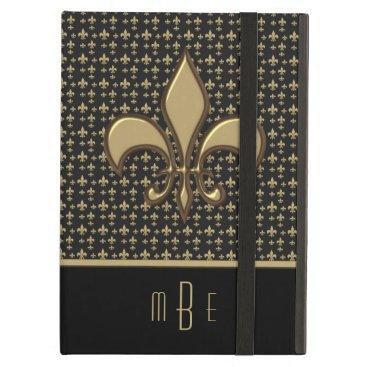 Black Gold Faux Metal Fleur de Lis Case For iPad Air
