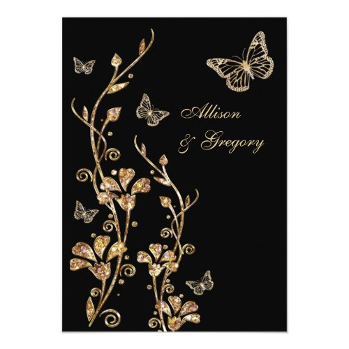 Black Gold Floral Butterflies Wedding Invitation