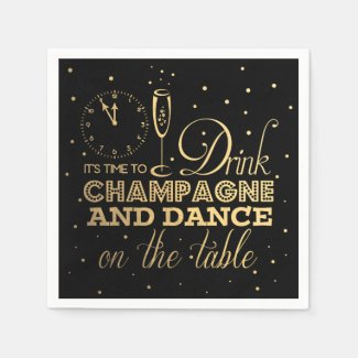 Black/Gold Foil New Year's Eve Party Standard Cocktail Napkin