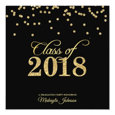 Black & Gold Polkadot Glitter Class of 2018 Party Card