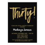 Black Gold Script 30th Birthday Party Invitation