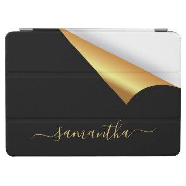 Black gold tear away modern elegant monogram iPad air cover