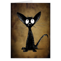 Black gothic oriental cat card