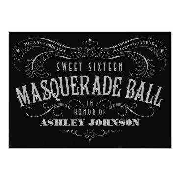 Black, Gray & White Sweet 16 Masquerade Invitation