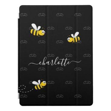 Black happy bumble bees summer fun humor monogram iPad pro cover