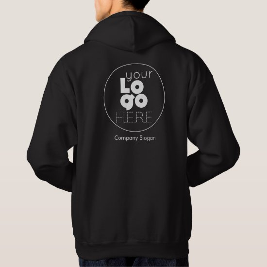 Black Hoodie with your White Business Logo on Back