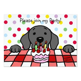Black Labrador watching you Birthday Custom Invitations