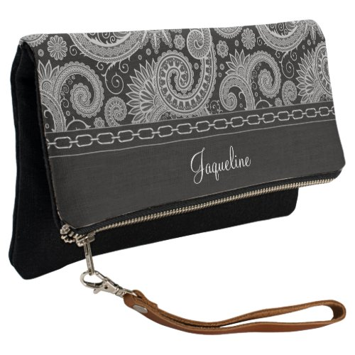 Black Paisley Silver Chain Clutch