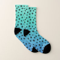 Black Paw Prints on Gradient Turquoise and Blue Socks