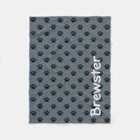 Black Paw Prints on Slate Grey Personalized Fleece Blanket