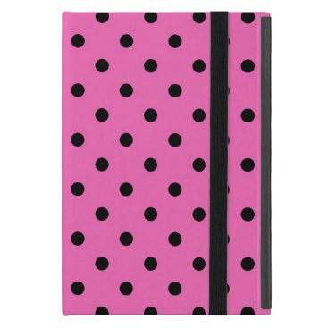 black polka dots in pink. iPad mini cover