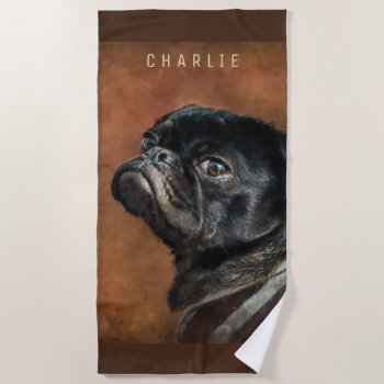 Black Pug Dog Beach Towel