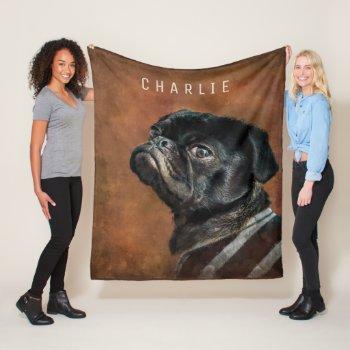 Black Pug Dog Fleece Blanket