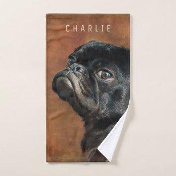 Black Pug Dog Hand Towel