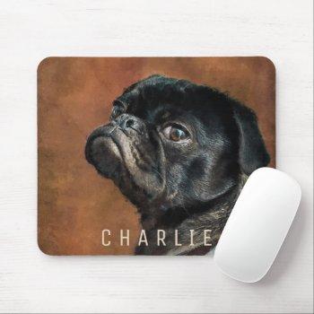 Black Pug Dog Mouse Pad
