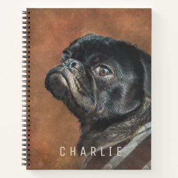 Black Pug Dog Personalized Notebook