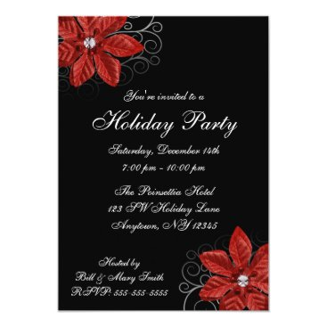 Black Red Poinsettia Swirls Holiday Party Invitation