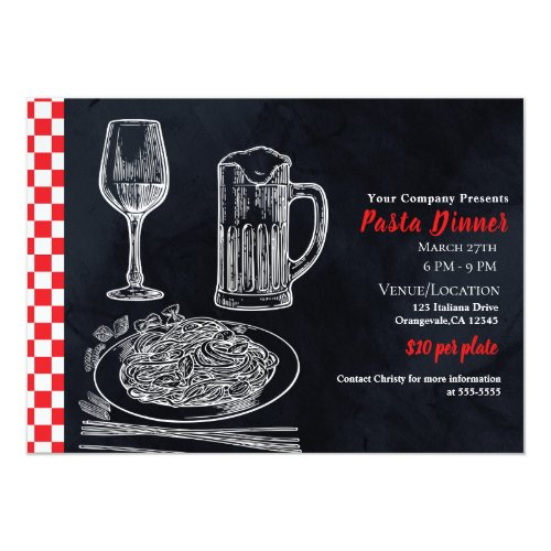 Black Red Spaghetti Pasta Chalk Dinner Party Event Invitation