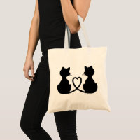 Black Silhouette Of Two Cats In Love Tote Bag