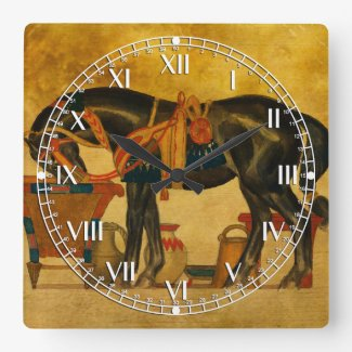Black Stallion Square Wall Clocks