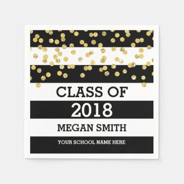 Black Stripes Gold Dots Class of 2018 Graduation Napkin