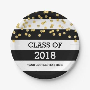 Black Stripes Gold Dots Class of 2018 Graduation Paper Plate
