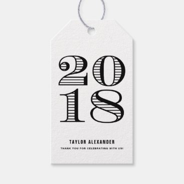 Black Vintage Typography Class of 2018 Graduation Gift Tags
