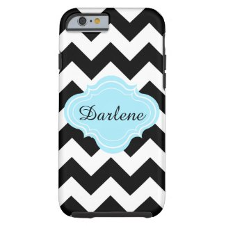 Black, White, Aqua, Chevron Zigzag Pattern Name Tough iPhone 6 Case