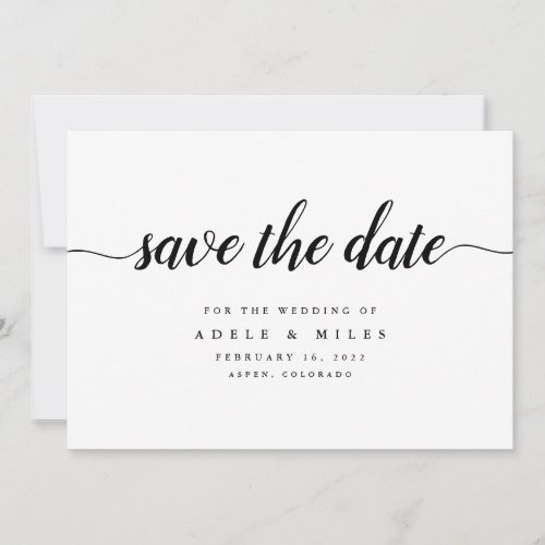 Black &amp&#x3B; White Calligraphy Save the Date Card